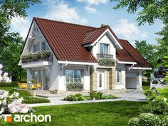 gotowy projekt Dom w lantanach Cottage Plan, Cottage Homes, Small Country Homes, Modern House Design, Traditional House, Home Fashion, Bungalow, Shed, Outdoor Structures