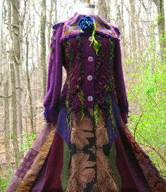 STUNNING!!  Truly a work of wearable art. Patchwork SWEATER /COAT with felted leaves, beaded lace appliqué. Corset style. Size L/ XL. Ready to ship