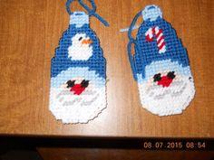 HANDMADE PLASTIC CANVAS SANTA CHRISTMAS ORNAMENTS SET OF TWO
