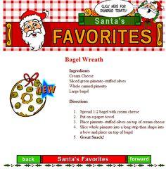 On Santa's list of favorite party snacks is the BAGEL WREATH. Looks good, tastes good!