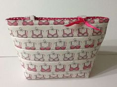 Pink and White Quilted Tote Bag,  Breast Cancer Awareness Small Tote, Quilted Mini Tote, Quiltsy Handmade by Clothstitched on Etsy
