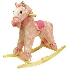 Happy Trails Plush Rocking Horse with Sounds, Pink