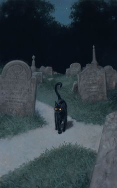 Black cat at a cemetery crossroad. I'm not saying he's not a cat. I'm just saying that lots of beings would be quite at home as a black cat. (Art by Tristan Elwell)