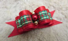 "USA Dog Bow -5/8"" full size double loop dog bow - xmas red and plaid by USADogBows on Etsy"