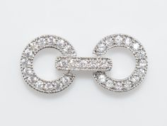 Two Ring Cubic Clasp, Wedding Jewelry, Jewelry Making, Polished Rhodium - 1pcs / UT0028-PR