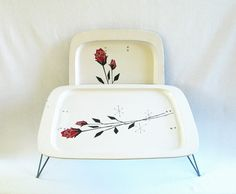 Vintage Metal Tray Tables Mid Century Tray by HipCatRetroVintage
