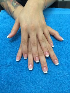 Pink and white acrylic  Nails by Rebeca @Beautybeach