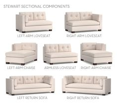 Build Your Own - Stewart Upholstered Sectional Components   Pottery Barn