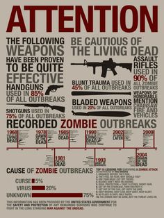 Zombie Survival poster with statistics to boot. #zombie #survival