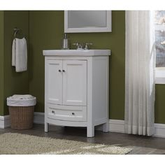 Bellina 24-inch Single Vanity Set by RunFine Group 24 Vanity, Single Sink Bathroom Vanity, White Vanity, White Sink, Wood Vanity, Wood Bathroom, Vanity Sink, Bathroom Furniture, Bathroom Vanities