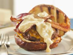Butter Burger with Beer Cheese Sauce and Bacon recipe from Trisha Yearwood via Food Network