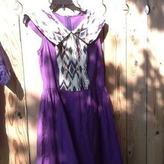 Country western sleeveless dress Purple cotton custom designed dress. Has large collar and cream background with various colors in patern. Zipper back Custom made Dresses