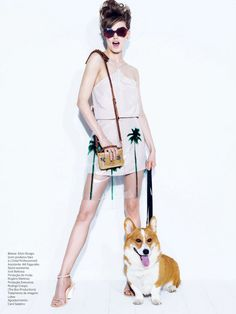 A high fashion model with her posh little welsh corgi | #HighFashionDogs #Corgi #Welsh #Royal #Vogue #High #Fashion #Dog #Photography