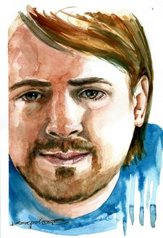 This is a second painting of Bastian taken from one photo. The challenge this painting gave was that half of the face was dark and in shadows.    Yes, I still need practise but I think this is better than the first one [below].This was the first one painted last December. One of the things ...  - http://ricaespiritu.com/watercolor-portrait-54-of-100-bastian/ #AnArtworkADay, #Watercolor, #WatercolorPortraits