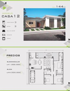 Modelos y Diseños de Casas de Un Piso Costa Rica Narrow Lot House Plans, Dream House Plans, House Floor Plans, Dream Home Design, Home Design Plans, House Design, Sims Building, Building Plans, Small Bungalow