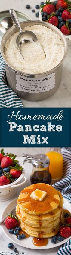 Homemade Pancake Mix - you'll never want to buy the store-bought stuff again! Makes delicious, soft and fluffy pancakes every time.