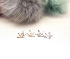 Hey, I found this really awesome Etsy listing at https://www.etsy.com/listing/128934763/origami-crane-stud-earrings-in-matte