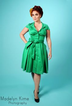 Pinup Couture Collette Button Down Dress in Green Sateen with Matching Sash Belt - gimme!
