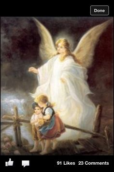 Guardian Angel!  My mom had a  picture like this and it hung in my first bedroom!