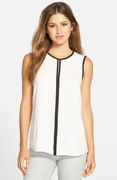 Free shipping and returns on Vince Camuto Keyhole Blouse (Regular & Petite) at Nordstrom.com. An outline of contrast trim adds polish to a breezy sleeveless blouse cut from soft georgette.