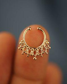 fake septum ring tribal septum ring non pierced faux septum ring gold no piercing boho bohemian man women spike septum ring lotus