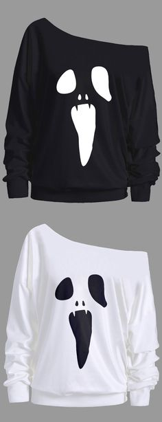 Skew Neck Halloween Ghost Print Sweatshirt