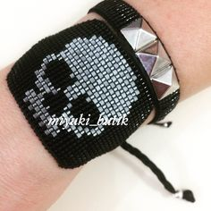 Skull Bracelet, Evil Eye Bracelet, Diy Jewelry, Beaded Jewelry, Jewlery, Pinterest Instagram, Bead Loom Bracelets, Loom Beading, Sugar Skull