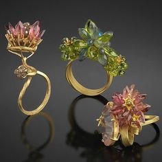"""Eclectic Artisans Jewellery on Instagram: """"With summer fading in the south and spring almost upon those in the north, these spectacular rings from London jeweller Donna Brennan are…"""""""