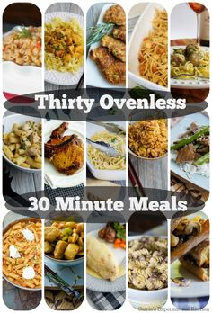 Thirty Ovenless 30 Minute Meals | Carrie's Experimental Kitchen Who wants to turn the oven on to make dinner in the middle of summer?  Here are Thirty Ovenless 30 Minute Meals to help get family dinner on the table as quickly as possible.