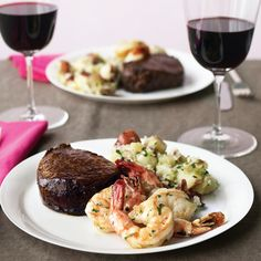 This classic surf and turf is easy to make at home. Spooning hot butter over the beef is a steakhouse trick that helps it cook evenly and enhances its flavor. dinner surf and turf Steak and Shrimp with Parsley Potatoes Quick Recipes, Beef Recipes, Cooking Recipes, Healthy Recipes, Steak Dinner Recipes, Meatloaf Recipes, Shrimp Recipes, Date Dinner, Dinner Menu