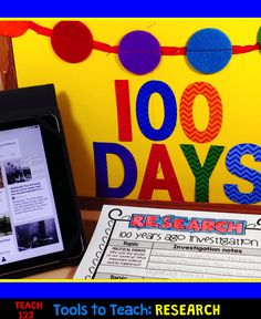 100th Day of School for 2nd Grade and Older.  Take a social studies approach to this special day.  Students will research life 100 years ago.  paid