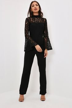 Black Black Lace Jumpsuit With Flare Sleeves
