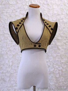 Steampunk Bolero With Leather Trim and Vintage Buttons /  Cropped Vest in Women's Size Meduim