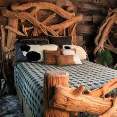 Rustic Log Bristlecone Pine Adirondack Bed