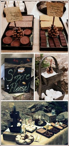 I love smores- and how much more wonderful with Reese's and chocolate graham crackers? This Mom made the most awesome campout birthday for her boy, Kotah; which by the way is just an equally awesome name! Birthday Week, Birthday Parties, Birthday Ideas, Birthday Bash, Gastro, Camping Parties, Camping Theme, Camping Ideas, S'mores Bar