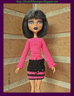 Conjunto de jersey y falda para muñecas Monster  de mamimonster por DaWanda.com