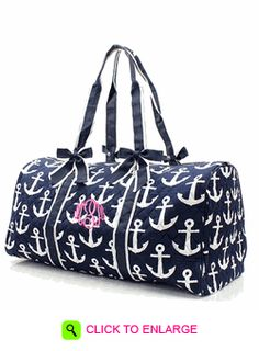 MONOGRAMMED NAVY ANCHOR QUILTED DUFFLE BAG