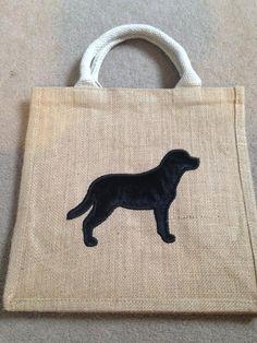 Black Labrador Medium Jute Bag
