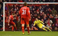 Steven Gerrard makes it 3-2 to Liverpool from the penalty spot in the 83rd minute