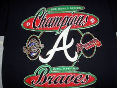 1995 World Series Champions Atlanta Braves Baseball Vtg Logo 7 T Shirt size M/L