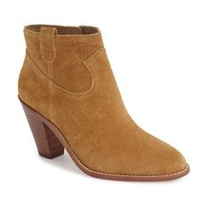 """Ash 'Ivana' Bootie, 3 1/2"""" heel ($255) ❤ liked on Polyvore featuring shoes, boots, ankle booties, ankle boots, camel nubuck leather, short cowgirl boots, ankle cowboy boots, western boots, cowboy booties and high heel ankle boots"""