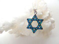 Opal Star of David Necklace Symbol of Israel by pnljewelrydesigns, $38.00