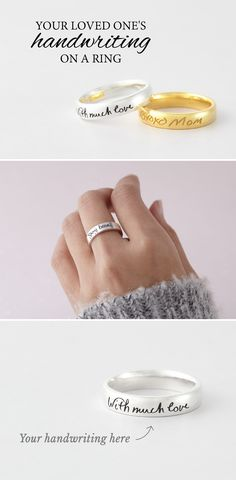Keep someone dear with a sterling silver handwriting ring made with actual handwritten note. With yellow & rose gold plate option. Unique Sympathy Gifts, Sentimental Gifts, Creative Gifts, Unique Gifts, Best Gifts, Valentines Gifts For Her, Gifts For Mom, Memorial Jewelry, Memorial Gifts