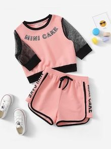 Girl's Pink Letter Print Eyelet Mesh Sleeve Waffle Top And Shorts Set - Cute Lazy Outfits, Sporty Outfits, Teen Fashion Outfits, Teenage Outfits, Trendy Outfits, Kids Outfits, Cool Outfits, Pajama Outfits, Girl Sleeves