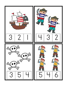 count printables for kıds Preschool Pirate Theme, Pirate Activities, Preschool Themes, Preschool Printables, Kindergarten Math, Math Activities, Preschool Activities, Free Preschool, Counting Activities For Preschoolers