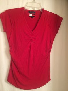 Tommy Jeans Red Shirt Stretch Fitted with pleats Size M #TommyHilfiger #StretchKnitTop #Casual
