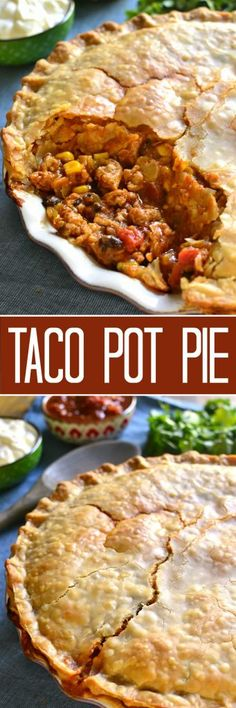 Taco Pot Pie Combines Two Classics In One Delicious Dish All The Taco Flavors You Love In A Flaky, Buttery Crust That's Sure To Become A New Family Favorite Picknsave Mexican Dishes, Mexican Food Recipes, Beef Recipes, Cooking Recipes, Mexican Easy, Vegetarian Mexican, Fast Recipes, Simple Recipes, Recipes
