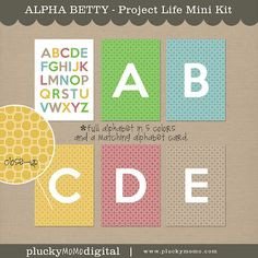 ALPHA BETTY Mini Kit for Scrapbooking or Project Life.