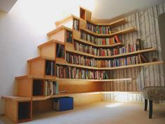 étagère murale design, bibliothèque d'angle                                                                                                                                                      Plus