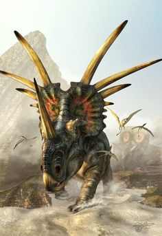 Styracosaurus was a genus of herbivorous ceratopsian dinosaur from the Cretaceous Period about 75.5 to 75 Ma